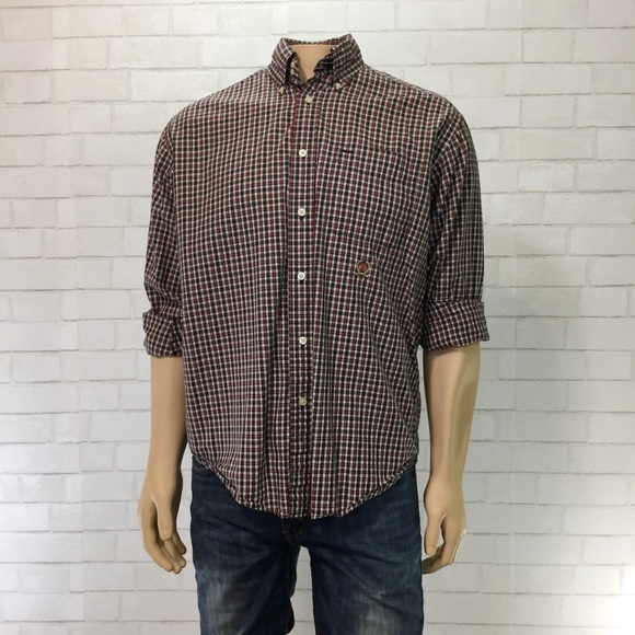 cf997011 Tommy Hilfiger Shirts | Mens Small Plaid Button Up Navy Red | Poshmark